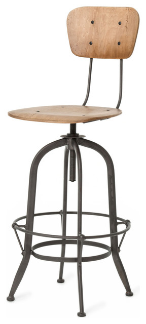 Jordan Industrial Loft Wood Iron Barstool With Back Industrial Bar Stools And Counter Stools