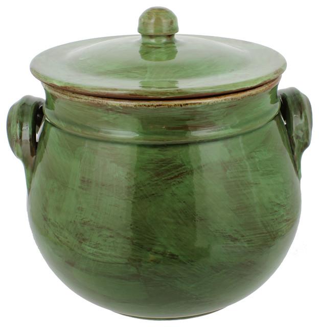 French Home Stoneware Bean Pot Cilantro Green