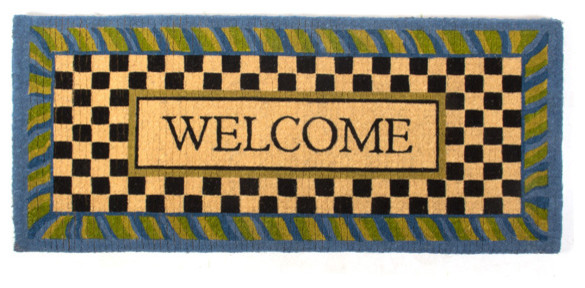 periwinkle double door welcome mat mackenzie childs eclectic outdoor rugs new york by. Black Bedroom Furniture Sets. Home Design Ideas