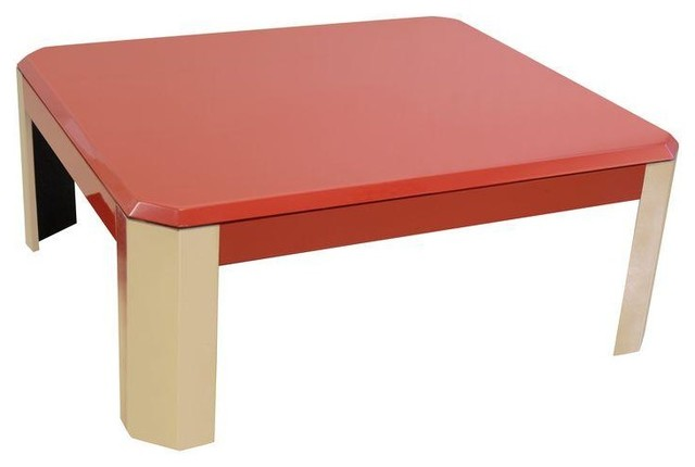 Contemporary red stainless steel coffee table coffee for Red modern coffee table