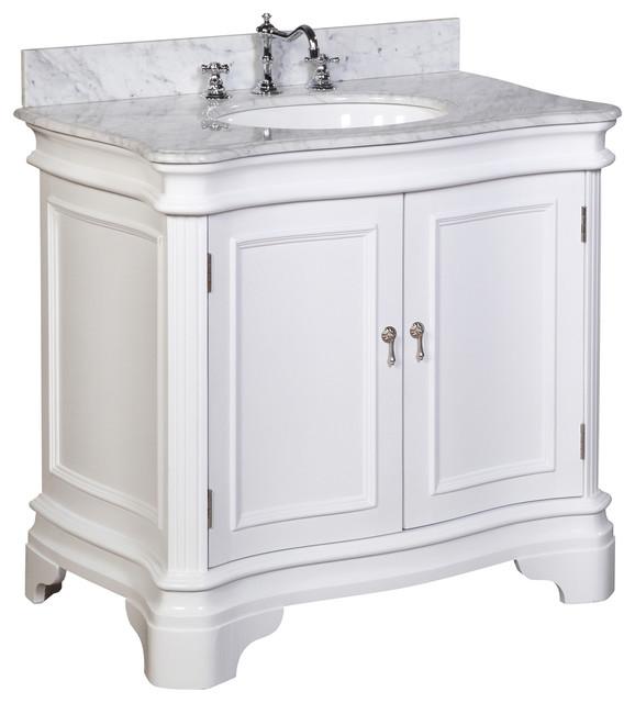 Katherine bath vanity carrara white 36 single for Bathroom consoles and vanities