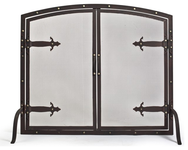 Hammered iron double door fireplace screen 16 5 l x 39 w x 34 h traditional fire guards - Houzz fireplace screens ...