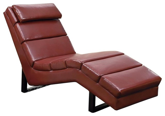 Monarch specialties 8909 chaise lounger in red leather for 2 person chaise lounge indoor