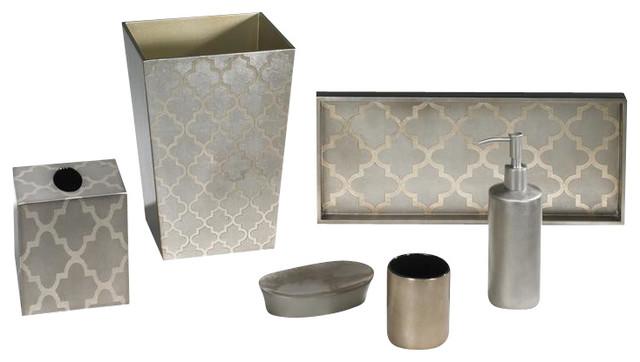 Arabesque espresso coffee bath set classique chic for Accessoires de salle de bain chic