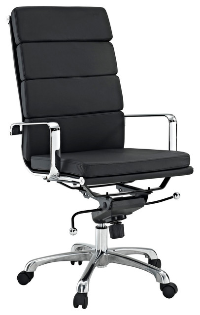 Eden High Back Office Chair In Black Vinyl Modern Office Chairs By LexMod