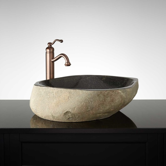 Schoborg River Stone Vessel Sink - Modern - Bathroom Sinks