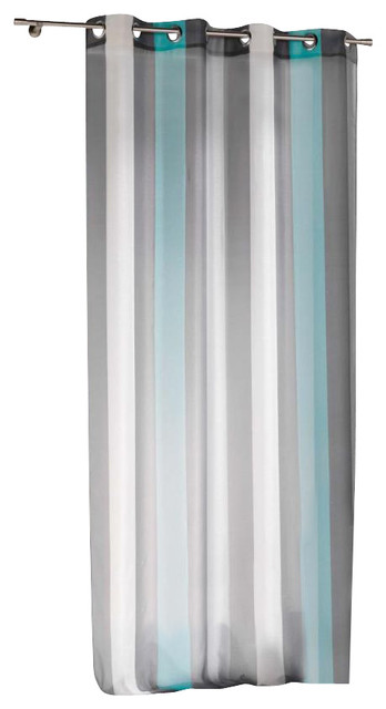 Striped Sheer Grommet Curtain Panel Riviera Turquoise 55 X95 Traditional Curtains By Evideco