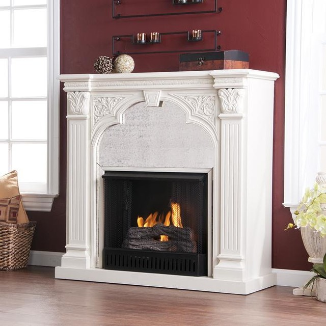 Kidwell Antique White Gel Fuel Fireplace - Modern - Indoor Fireplaces - by Overstock.com