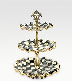 Mackenzie Childs Courtly Check Ceramic Sweet Stand