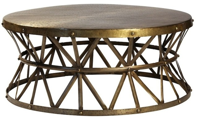 Bruce Hammered Steel Round Cocktail Table Industrial