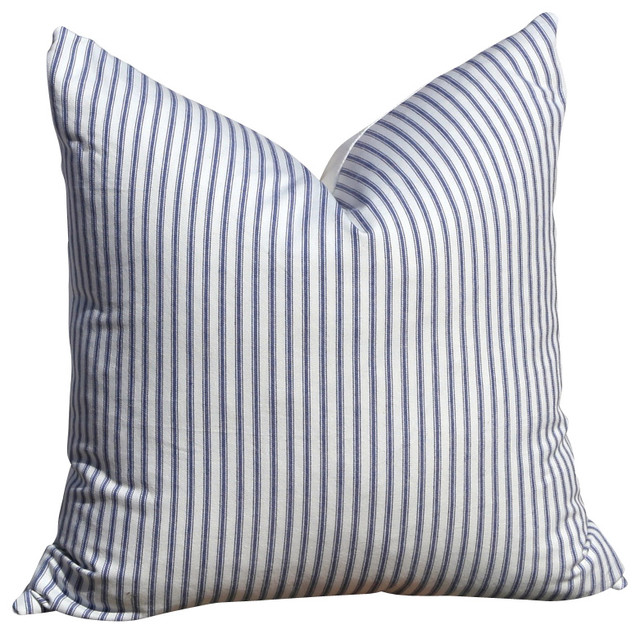 Blue Striped Decorative Pillows : Striped Cotton Throw Pillow, Blue and White - Beach Style - Decorative Pillows - by PillowFever