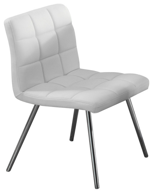 Monarch specialties white leather look chrome metal for White leather and chrome dining chairs