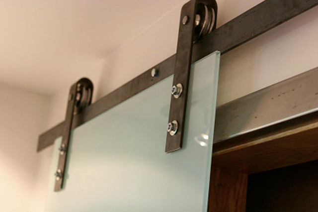 Barn Door Hardware With Glass Sliding Door - Contemporary - Salt Lake City - by Rustica Hardware