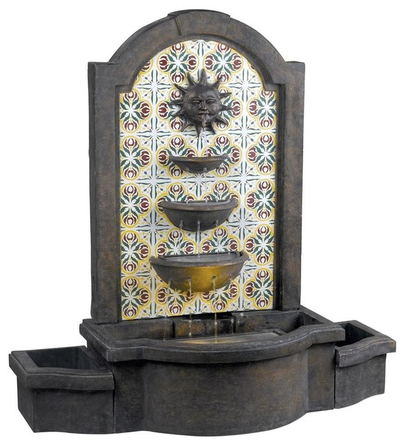 Mediterranean Exterior Of Home With Pathway Fountain: Cascada Outdoor Floor Fountain