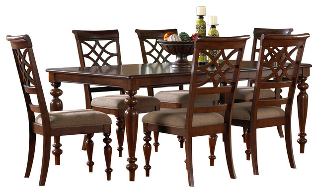 woodmont 8 piece leg dining room set in cherry traditional dining sets