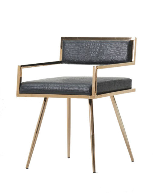 Rosario Dining Chair Black and Rose Gold Dining Chairs