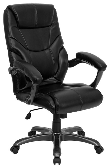High Back Black Leather Overstuffed Executive Office Chair Contemporary O