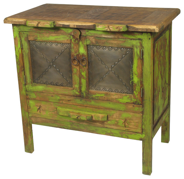 Mexican Painted Wood Buffet with Tin Panels Rustic