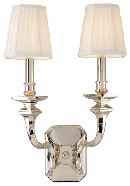 Wall Sconces Double : Arlington Double Light 18 3/4? High Nickel Wall Sconce - Traditional - Wall Sconces - by ...