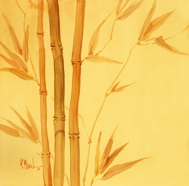 Gold bamboo wall mural contemporary wallpaper for Bamboo mural wallpaper