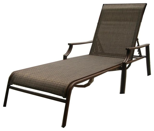 Chub Cay Patio Sling Chaise Lounge In Dark Br Contemporary Outdoor Lounges