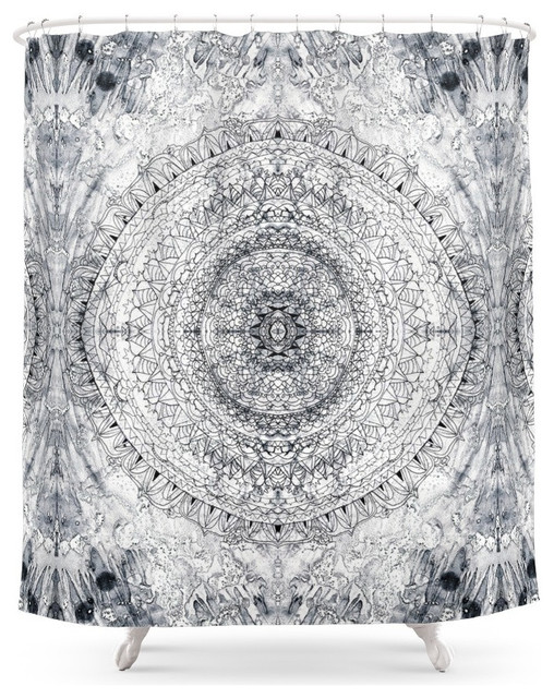 Society6 Black And White Mandala And Gray Blue Shower Curtain Shower Curta
