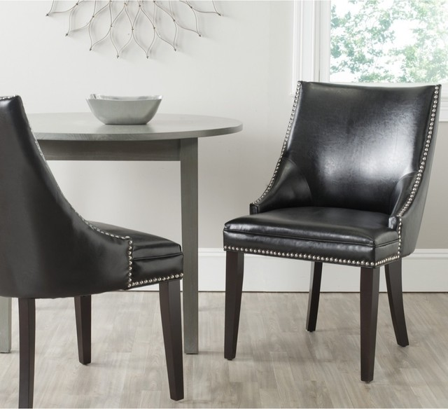 Safavieh Leather Dining Chairs: Safavieh Afton Black Bi-Cast Leather Side Chair (Set Of 2