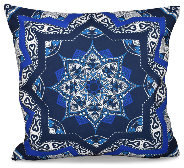 "Shawl Geometric Outdoor Pillow Navy Blue 18""x18"