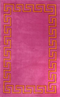 Greek Key Area Rug, Pink, 5