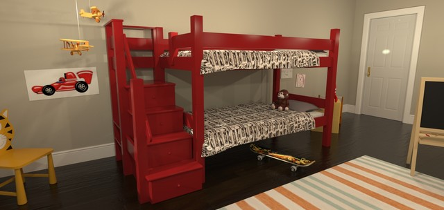 Eco Friendly Bunk Bed With Stairs Modern Bunk Beds