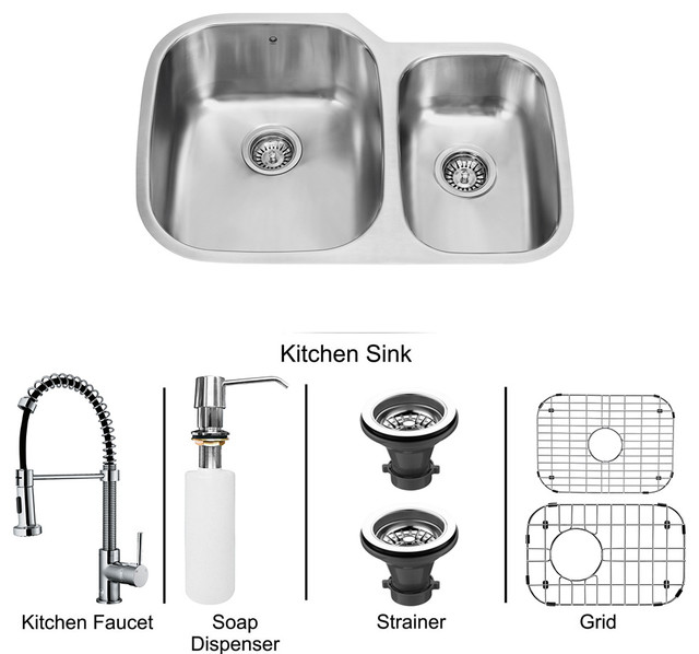 Contemporary Kitchen Designed With Undermount Sink And Led: All In One 31 In. Undermount Stainless Steel Kitchen Sink