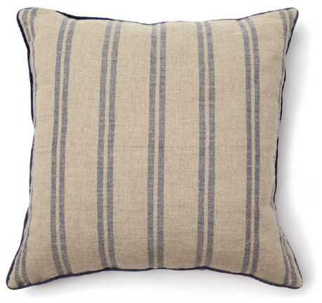 Modern Moose Pillows : Full Bloom Pillow in Rustic Natural / Navy Stripe - Modern - Decorative Pillows