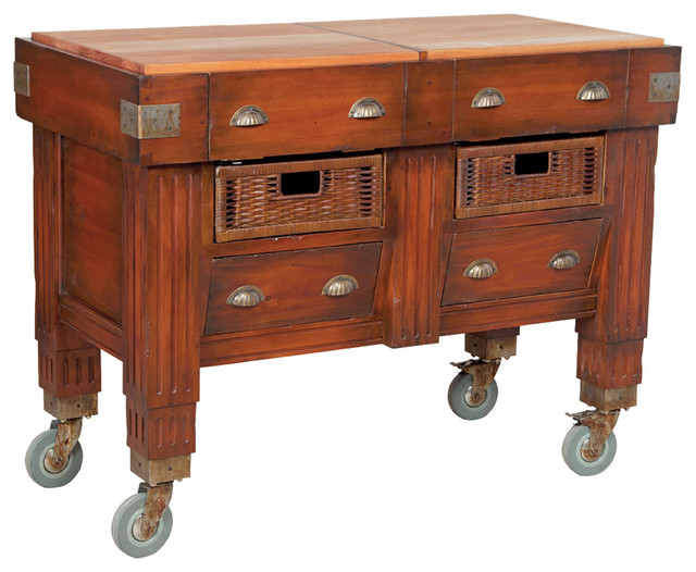 Woodtone Butchers Block Station  Rustic  Kitchen Islands And Kitchen Carts  by Modern Decor Home