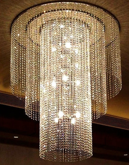 Modern large size object crystal chandelier contemporary for Large modern chandelier lighting
