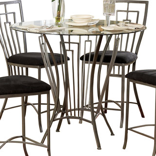 Homelegance flight round glass counter height table in for Traditional dining table uk