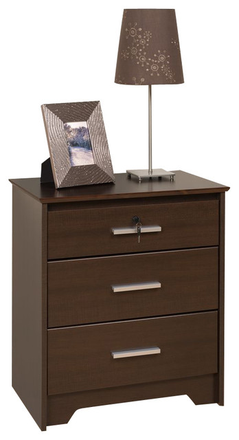 prepac coal harbor espresso 24 inch 3 drawer tall and wide nightstand with lock traditional. Black Bedroom Furniture Sets. Home Design Ideas