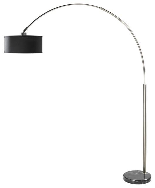 brushed steel arc floor lamp with black shade and black. Black Bedroom Furniture Sets. Home Design Ideas