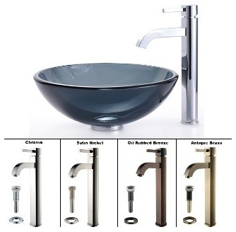 ... Black Glass Vessel Sink and Ramus Faucet Chrome modern-bathroom-sinks