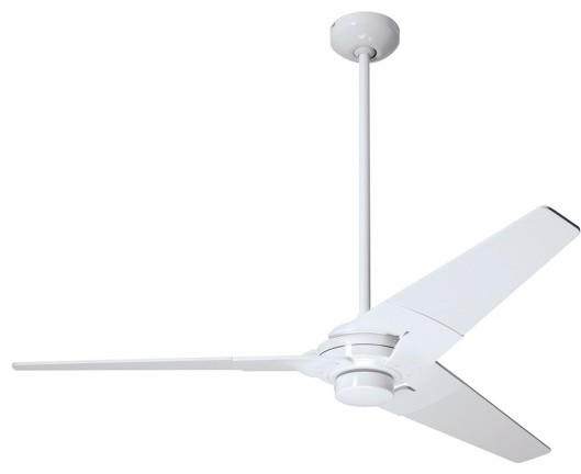 Torsion fan gloss white 42 modern ceiling fans by premium home interior - Modern white ceiling fan ...
