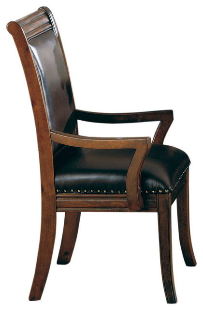 westminster top grain leather uphlstered dining arm chair