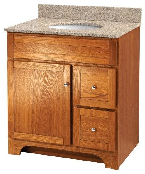 Worthington 30 Oak Bathroom Vanity Country Bathroom Vanities And Sink Consoles By