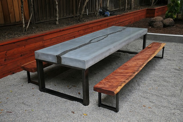 concrete table  u0026 benches - modern - dining sets