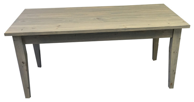Grey Farmhouse Table With Tapered Legs 54 Inches Farmhouse Dining Tables