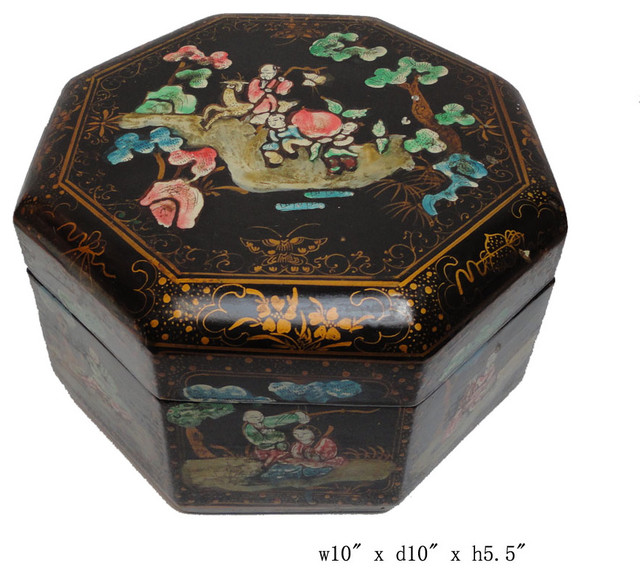 Chinese Color Graphic Paper Lacquer Decor Box - Asian - Decorative Boxes - san francisco - by ...