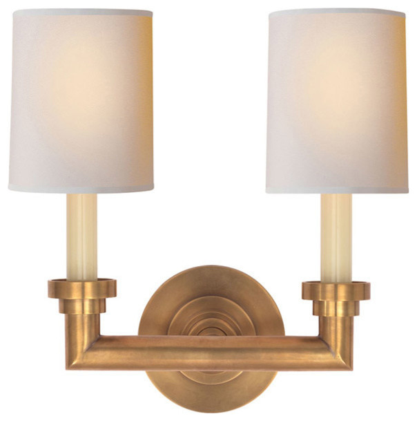 Wall Sconces Transitional : Visual Comfort & Co. SL2846HAB-NP E.F. Chapman Wilton 2-Light Wall Sconces - Transitional - Wall ...