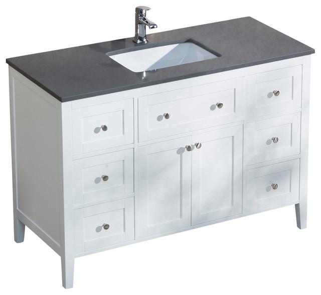Victoria 49 Vanity With Quartz Top Dark Walnut White Sink White Countertop Transitional