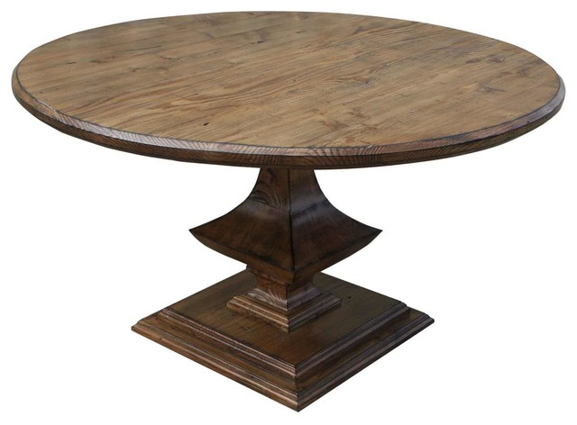 Algonquin Round Reclaimed Wood Dining Table Traditional