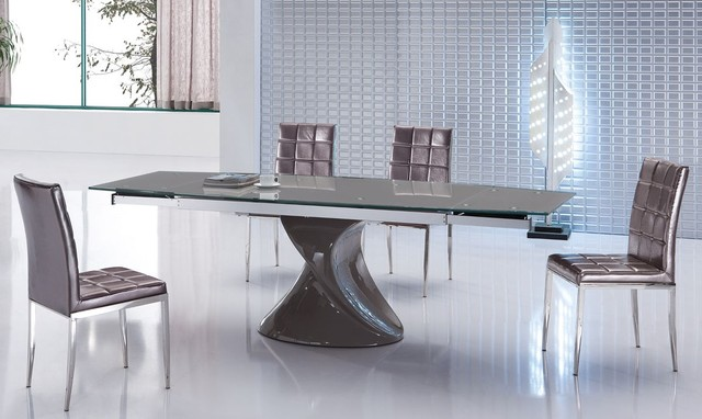 Extendable Glass Top Five Piece Modern Dining  : contemporary dining tables from www.houzz.co.uk size 640 x 382 jpeg 61kB