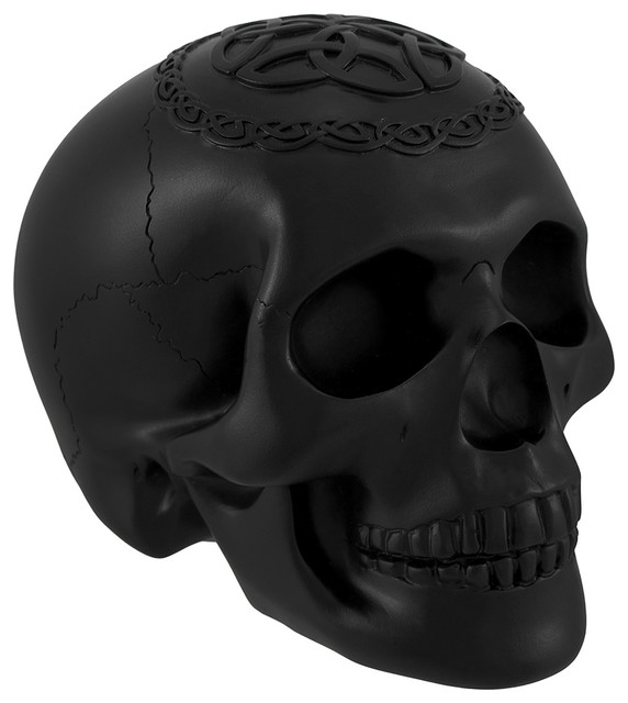 Black Skull With Celtic Knotwork Statue Pagan