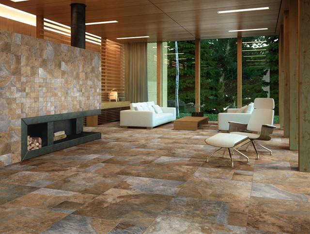 rustic living room tile floor designs | Sintesi Newslate Living Room - Rustic - Wall And Floor ...